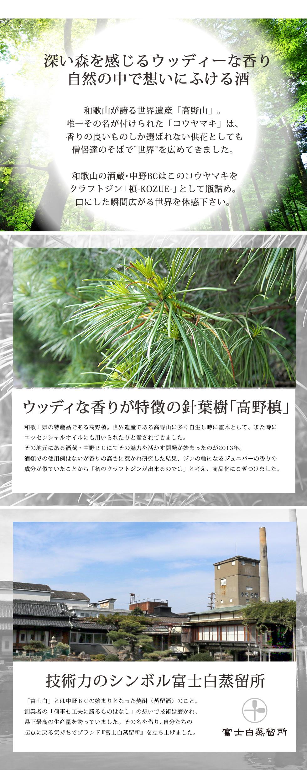 梢は針葉樹コウヤマキを使用したクラフトジンです