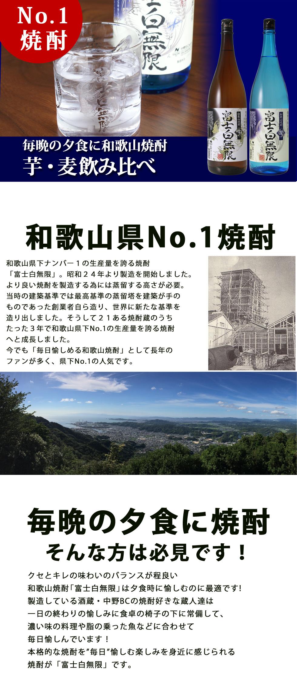 富士白無限《芋》と富士白無限《麦》は和歌山県No1の焼酎です。毎晩の夕食に和歌山焼酎の飲み比べをお楽しみください