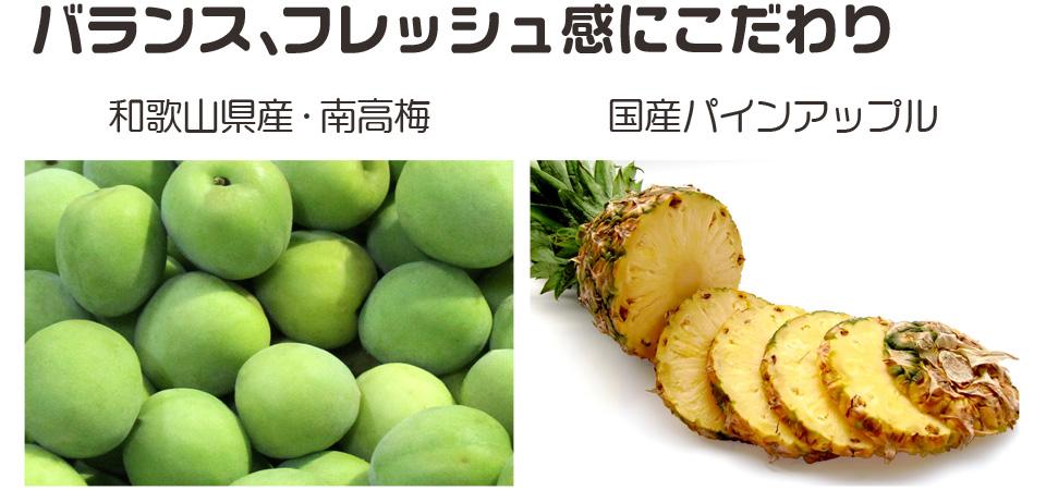 本場の産地紀州南高梅,沖縄県の太陽をたくさん浴びて育った濃厚なパイナップル果汁